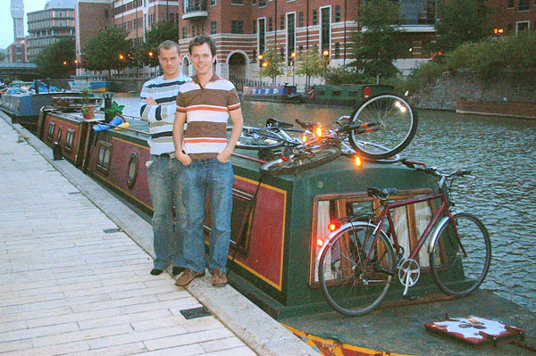 Matthew and Brendan beside the narrowboat Greenwood