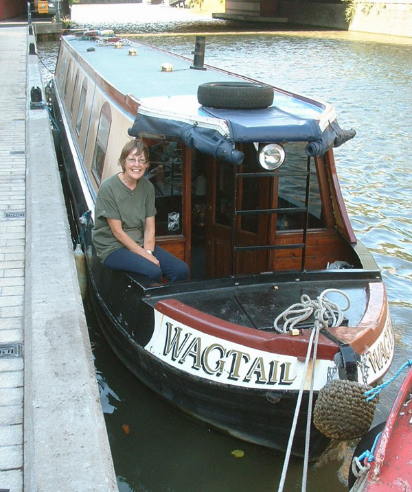Lynn sat on the bow of Wagtail