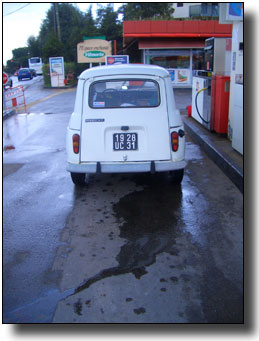 Petrol spilling over the garage forecourt