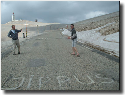 Mock snowball fight on Mt. Ventoux